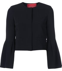 carolina herrera flared-sleeve fitted jacket - black