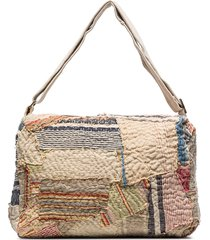 by walid 19th century patchwork messenger bag - neutrals