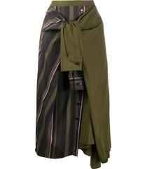 forest green asymmetric skirt