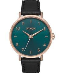 women's nixon the arrow leather strap watch, 38mm