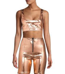 lisa marie fernandez women's metallic sports bra - rose gold - size xs