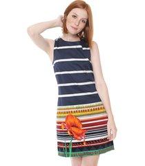 vestido desigual curto ari azul-marinho/branco