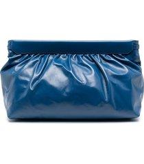 isabel marant ruched clutch bag - blue