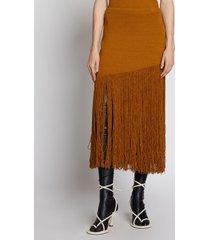 proenza schouler fringe knit skirt oak/brown m