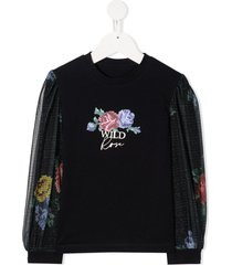 lapin house rose print sweatshirt - blue