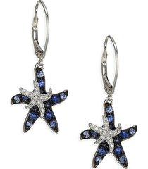 effy women's 14k white gold, rhodium-plating, sapphire & diamond starfish earrings