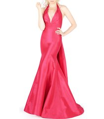 women's mac duggal halter neck pleated taffeta mermaid gown