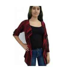 casaqueto bon alongado em tricô vazado preto e vermelho