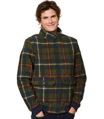 green tartan thermo jacket - wool effect