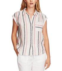 vince camuto linen striped blouse