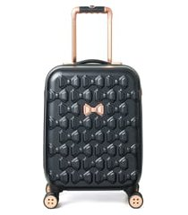 ted baker london small beau 22-inch bow embossed four-wheel trolley suitcase - black