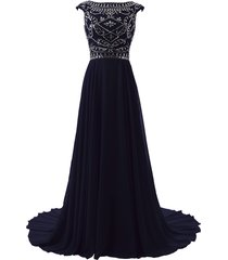 blevla cap sleeve beaded bodice chiffon bridesmaid evening party prom gown na...