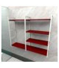 prateleira industrial banheiro aço cor branco 120x30x98cm cxlxa cor mdf vermelho modelo ind46vrb