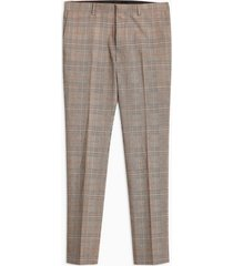 mens beige stone check super skinny pants