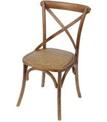 cadeira em madeira cross 48x55cm bege escura