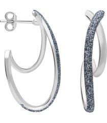 orecchini in ottone rodiato e glitter antracite per donna
