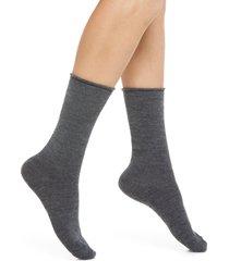 women's nordstrom merino wool blend crew socks, size 9/11 - grey