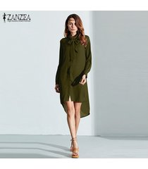 zanzea blusas de moda venta caliente camisa de mujer vestido de manga larga casual amsymetircal blusas de gasa tallas grandes s-5xl tops (verde militar) -verde
