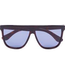 gucci eyewear straight brow tinted sunglasses - blue