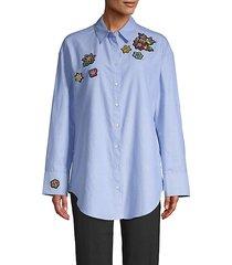 arleigh oversized beaded patch shirt