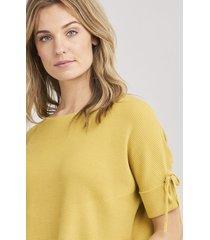 geribde trui met kort mouwen en strik