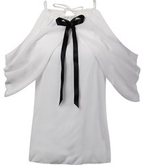 bowknot del collo del halter elegante fuori dalle camicette delle donne chiffone bianche della spalla