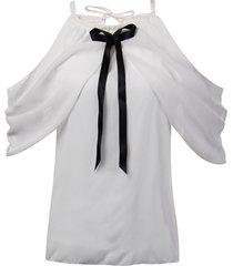 halter collo camicette da donna eleganti in chiffon bianco con spalle scoperte di bowknot