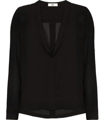 032c cosmic workshop silk blouse - black