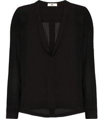 032c cosmic workshop silk blouse - black