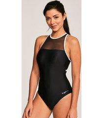 monochrome mesh crossback one-piece swimsuit