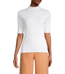 525 america women's ribbed mockneck top - bleach white - size s
