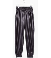 womens best time faux leather high-waisted jogger pants - black
