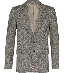 alexander mcqueen brooch-embellished tweed blazer - black