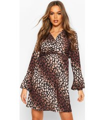 leopard print flared sleeve tea dress, brown