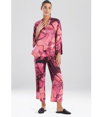natori canyon lotus satin pajamas, women's, size l sleep & loungewear