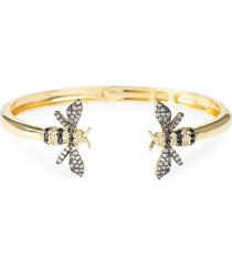 cz by kenneth jay lane women's look of real goldplated & cubic zirconia bumblebee cuff bracelet