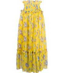 msgm smocked-waist crinkle-chiffon skirt - yellow