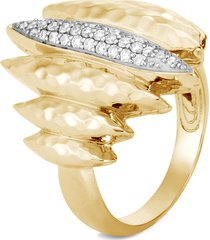 'classic chain' diamond 18k gold hammered ring