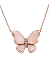 """effy mother-of-pearl & diamond accent pendant necklace in 14k rose gold, 16"""" + 2"""" extender"""