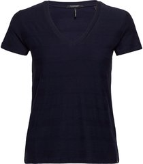 classic short sleeve jacquard tee with v-neck t-shirts & tops short-sleeved blå scotch & soda