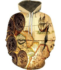 maple coin pattern front pocket lounge hoodie