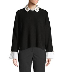 embellished wool & cashmere-blend sweater