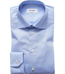 men's big & tall eton contemporary fit houndstooth dress shirt, size 18.5 - blue