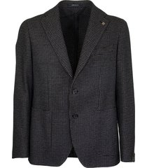 tagliatore two-button jacket with micro pattern in blue and beige blazer