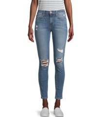 joe's jeans women's mid-rise skinny ankle-crop distressed jeans - miami aqua - size 26 (2-4)