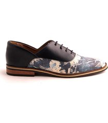 zapato de amarrar tipo derby azul combinado caprino