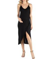 24seven comfort apparel cami top strapped maternity wrap midi dress