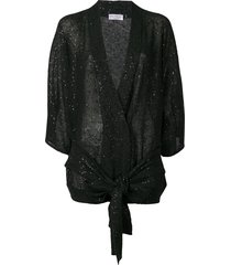 brunello cucinelli sequin belted cardigan - black