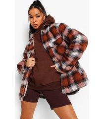 geruite teddy coat met faux fur voering, rust