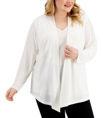 calvin klein plus size studded layered-look top